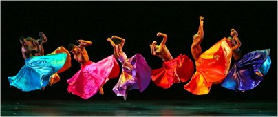 """(Taken from the NY Times: Constance Stamatiou, third from left, and other members of the Alvin Ailey company in """"Festa Barocca."""" Choreographed by Mauro Bigonzetti, it is a suite set to familiar arias by Handel.)"""